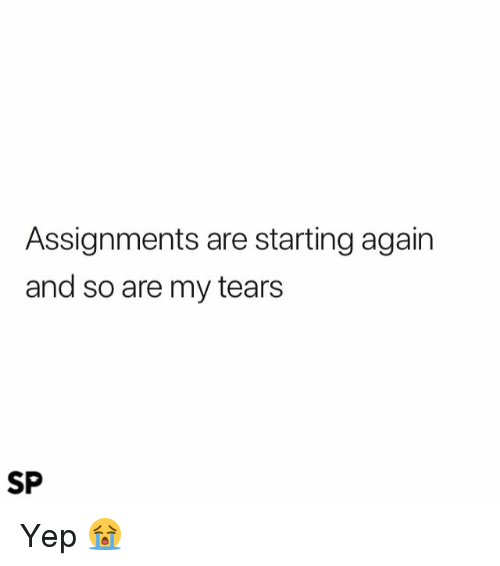 Tears, Yep, and  Again: Assignments are starting again  and so are my tears  SP Yep 😭