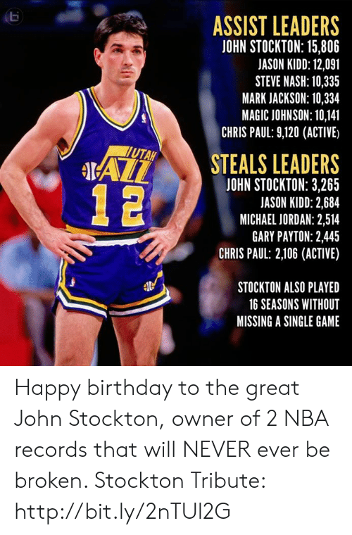 Assist: ASSIST LEADERS  JOHN STOCKTON: 15,806  JASON KIDD: 12,091  STEVE NASH: 10,335  MARK JACKSON: 10,334  MAGIC JOHNSON: 10,141  CHRIS PAUL: 9,120 (ACTIVE)  STEALS LEADERS  UTAH  IAL  JOHN STOCKTON: 3,265  JASON KIDD: 2,684  MICHAEL JORDAN: 2,514  GARY PAYTON: 2,445  CHRIS PAUL: 2,106 (ACTIVE)  STOCKTON ALSO PLAYED  16 SEASONS WITHOUT  MISSING A SINGLE GAME Happy birthday to the great John Stockton, owner of 2 NBA records that will NEVER ever be broken.   Stockton Tribute: http://bit.ly/2nTUl2G