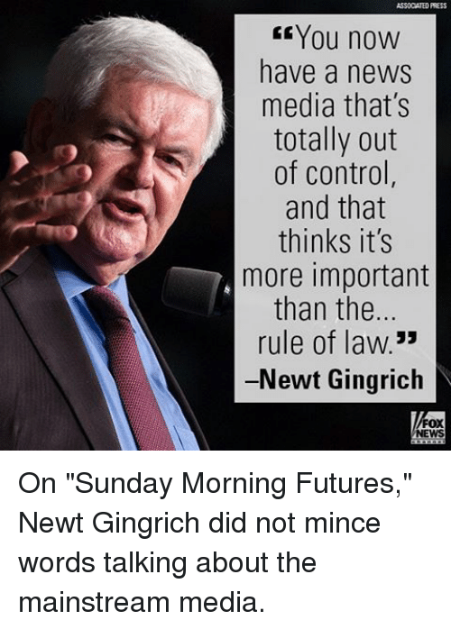 """Memes, News, and Control: ASSOCATED PRESS  You noW  have a news  media that's  totally out  of control,  and that  thinks it's  more important  than the..  rule of law  33  -Newt Gingrich  FOX  NEWS On """"Sunday Morning Futures,"""" Newt Gingrich did not mince words talking about the mainstream media."""