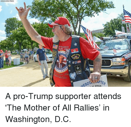 Memes, Trump, and Pro: ASSOCIATEO PRESS  LDI  RL  PTER A pro-Trump supporter attends 'The Mother of All Rallies' in Washington, D.C.