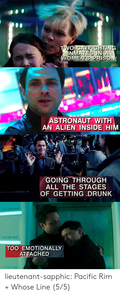 Getting Drunk: ASTRONAUT WITH  AN ALIEN INSIDE H   GOING THROUGH  ALL THE STAGES  OF GETTING DRUNK   SI-9948S  SI-60 127  TOO EMOTIONALLY  ATTACHED lieutenant-sapphic:  Pacific Rim + Whose Line (5/5)