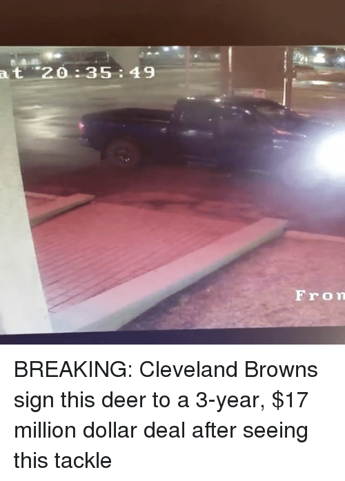 Cleveland Browns, Deer, and Memes: at 2.0 35 49  From BREAKING: Cleveland Browns sign this deer to a 3-year, $17 million dollar deal after seeing this tackle