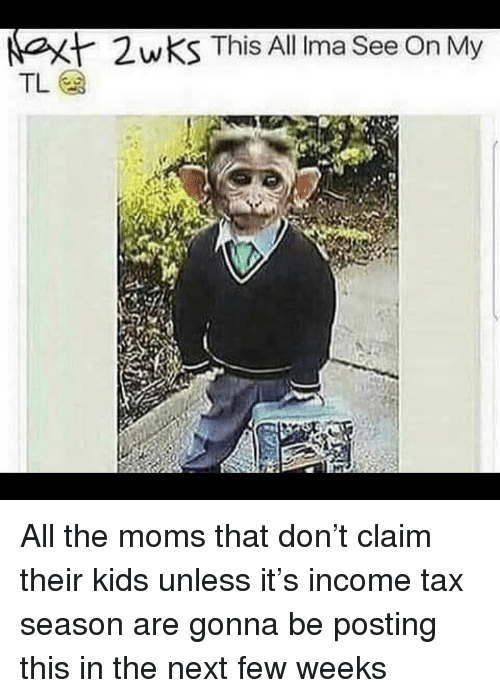 Funny, Moms, and Kids: at  2wKS This All Irma See On My All the moms that don't claim their kids unless it's income tax season are gonna be posting this in the next few weeks