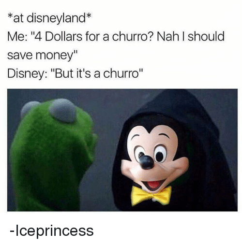 "Disney, Disneyland, and Memes: *at disneyland*  Me: ""4 Dollars for a churro? Nah I should  save money""  Disney: ""But it's a churro""  1l -Iceprincess"