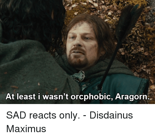 Maximus: At least i wasn't orcphobic, Aragorn SAD reacts only.  - Disdainus Maximus