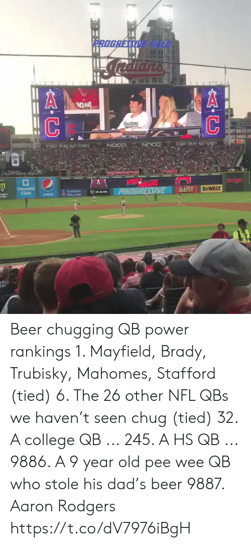 cleveland clinic: at  PROGRESSIVE HELD  NDANS  NOCD  START DEAD BATTERIES  START DEAD BAITERIES  NOco  ile  ANGE TALS  PROGRESSIVE  meijer  Cleveland  Clinic  BASTER  DEWALY  SnWIN  WLLIAM  pepsi  AC Beer chugging QB power rankings   1. Mayfield, Brady, Trubisky, Mahomes, Stafford (tied)  6. The 26 other NFL QBs we haven't seen chug (tied) 32. A college QB ... 245. A HS QB ... 9886. A 9 year old pee wee QB who stole his dad's beer 9887. Aaron Rodgers https://t.co/dV7976iBgH