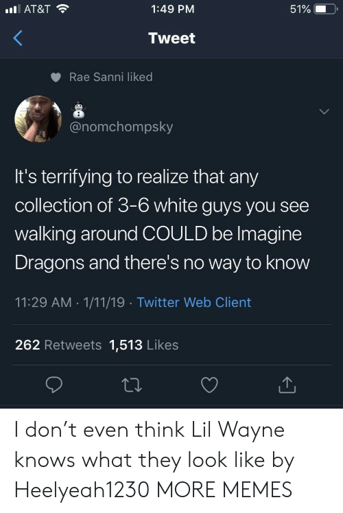 white guys: AT&T  1:49 PM  51%  Tweet  Rae Sanni liked  onomchompsky  It's terrifying to realize that any  collection of 3-6 white guys you see  walking around COULD be lmagine  Dragons and there's no way to know  11:29 AM 1/11/19 Twitter Web Client  262 Retweets 1,513 Likes I don't even think Lil Wayne knows what they look like by Heelyeah1230 MORE MEMES