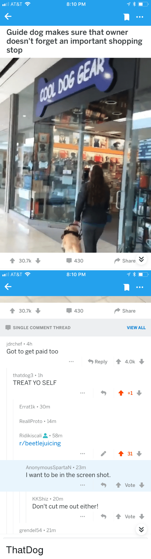 Shopping, Yo, and At&t: AT&T  8:10 PM  Guide dog makes sure that owner  doesn't forget an important shopping  stop  30.7k  430  ShareV   AT&T  8:10 PM  30.7k  430  Share  SINGLE COMMENT THREAD  VIEW ALL  jdrchef 4h  Got to get paid too  Reply ↑ 4.0k  thatdog3 1h  TREAT YO SELF  +1  Erratlk 30m  ReallProto 14m  Ridikiscali58m  r/beetlejuicing  AnonymousSpartaN 23m  I want to be in the screen shot  ↑ Vote  KKShiz 20m  Don't cut me out either!  ↑ Vote  grendel54 21m ThatDog