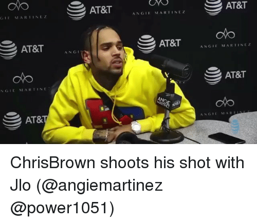 JLo: AT&T  GIE MARIINLZ  ANGIE MARIINEZ  oto  AT&T ANG  ANGIEMARTINEZ  AT&T  NGIE MARTINE  AT&  ANGIE MARDES ChrisBrown shoots his shot with Jlo (@angiemartinez @power1051)