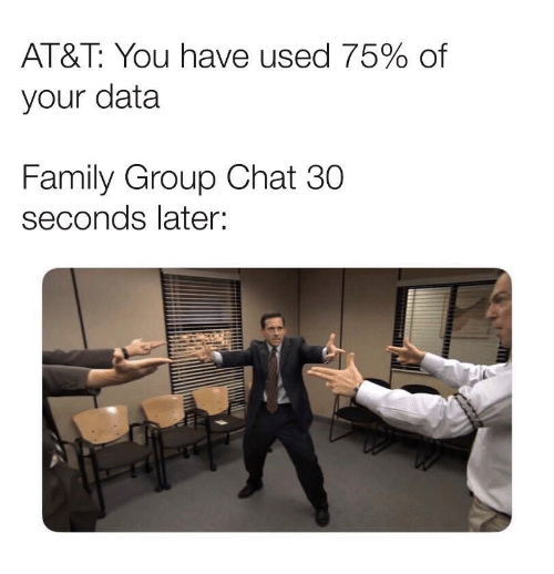 Family, Group Chat, and At&t: AT&T: You have used 75% of  your data  Family Group Chat 30  seconds later: