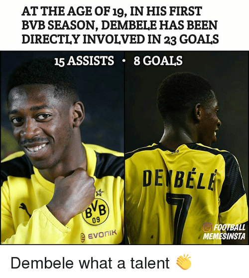 Football, Goals, and Memes: AT THE AGE OF 19, IN HIS FIRST  BVB SEASON, DEMBELE HAS BEEN  DIRECTLY INVOLVED IN 23 GOALS  15 ASSISTS  8 GOALS  DEN BEL  09  FOOTBALL  e Evonik  INSTA Dembele what a talent 👏
