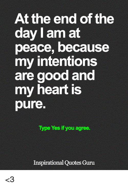Memes, Good, and Heart: At the end of the  day I am at  peace, because  my intentions  are good and  my heart is  pure  Type Yes if you agree.  Inspirational Quotes Guru <3