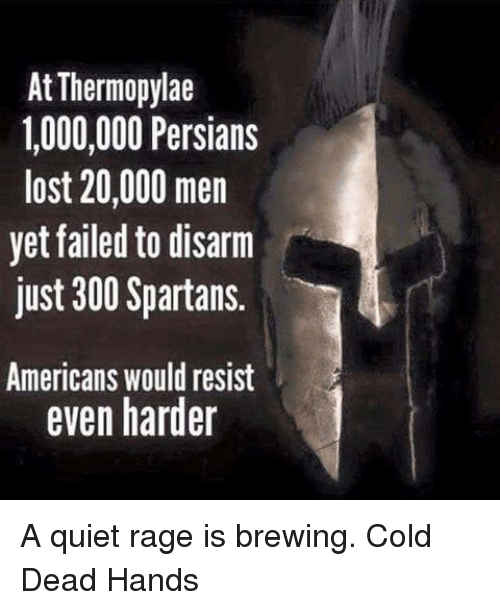 spartans: At Thermopylae  1,000,000 Persians  lost 20,000 men  yet failed to disarm  just 300 Spartans.  Americans would resist  even harder A quiet rage is brewing.   Cold Dead Hands