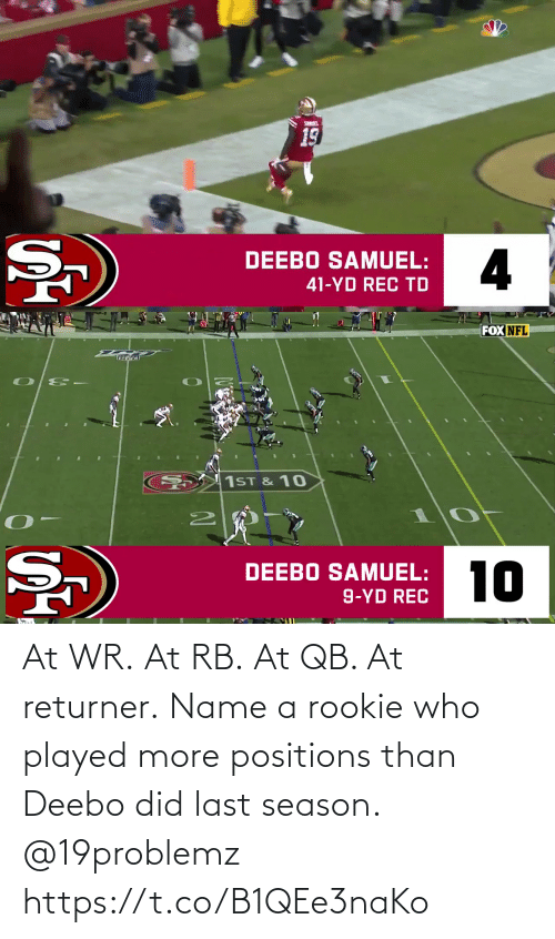 Rookie: At WR. At RB. At QB.  At returner.  Name a rookie who played more positions than Deebo did last season. @19problemz https://t.co/B1QEe3naKo
