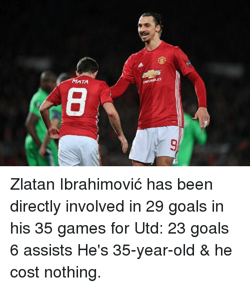 Goals, Memes, and Chevrolet: ATA  CHEVROLET Zlatan Ibrahimović has been directly involved in 29 goals in his 35 games for Utd:  23 goals 6 assists  He's 35-year-old & he cost nothing.