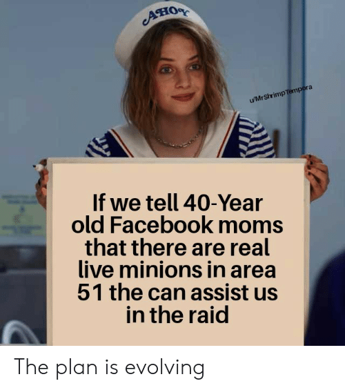 40 year: ATIOR  u/MrShrimp Tempora  If we tell 40-Year  old Facebook moms  that there are real  live minions in area  51 the can assist us  in the raid The plan is evolving