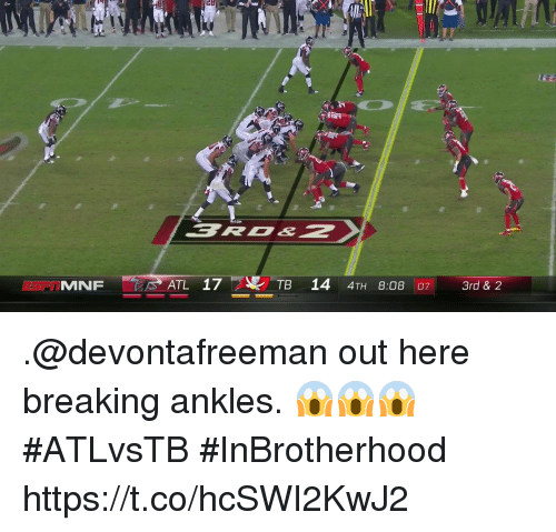 Memes, 🤖, and Atl: ATL 17TB 14 4TH 8:08 07 .@devontafreeman out here breaking ankles. 😱😱😱  #ATLvsTB #InBrotherhood https://t.co/hcSWI2KwJ2