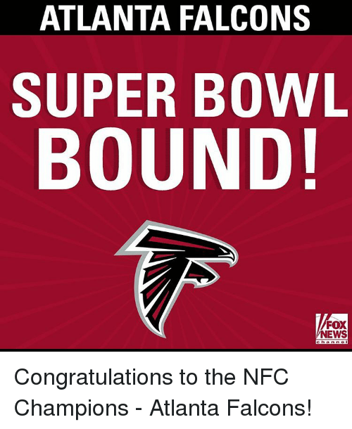 Atlanta Falcons, Memes, and Super Bowl: ATLANTA FALCONS  SUPER BOWL  BOUND!  FOX  NEWS Congratulations to the NFC Champions - Atlanta Falcons!