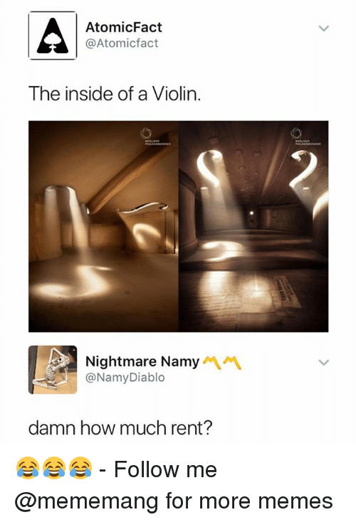 Memes, Dank Memes, and How: AtomicFact  @Atomicfact  The inside of a Violin  Nightmare Namy  @NamyDiablo  damn how much rent? 😂😂😂 - Follow me @mememang for more memes