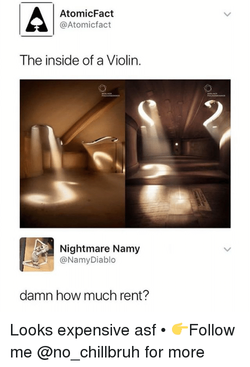 Funny, How, and Rent: AtomicFact  @Atomicfact  The inside of a Violin  Nightmare Namy  @NamyDiablo  damn how much rent? Looks expensive asf • 👉Follow me @no_chillbruh for more
