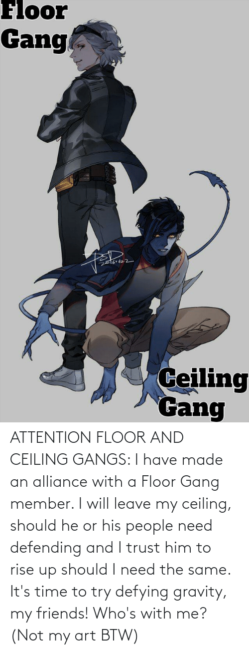 rise up: ATTENTION FLOOR AND CEILING GANGS: I have made an alliance with a Floor Gang member. I will leave my ceiling, should he or his people need defending and I trust him to rise up should I need the same. It's time to try defying gravity, my friends! Who's with me? (Not my art BTW)
