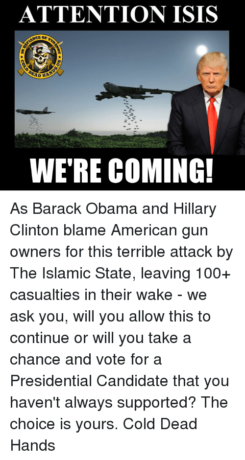 obama-and-hillary: ATTENTION ISIS  ADH  WE'RE COMING! As Barack Obama and Hillary Clinton blame American gun owners for this terrible attack by The Islamic State, leaving 100+ casualties in their wake - we ask you, will you allow this to continue or will you take a chance and vote for a Presidential Candidate that you haven't always supported? The choice is yours. Cold Dead Hands