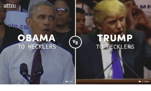 Memes, 🤖, and C-Span: attn:  CO  OBAMA  RUMP  Vs  TO HECKLERS  TO HECKLERS  Be CNN  C-SPAN