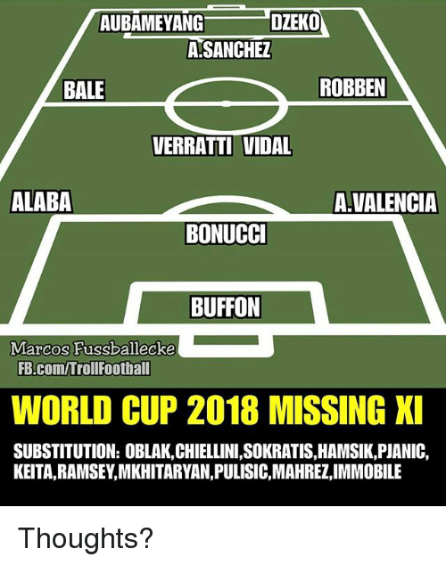 Vidal: AUBAMEYANG  DZEKO  ASANCHEZ  BALE  ROBBEN  VERRATTI VIDAL  ALABA  A.VALENCIA  BONUCCI  BUFFON  Marcos Fussballecke  FB.com/TrollFoothall  WORLD CUP 2018 MISSING XI  SUBSTITUTION: OBLAK,CHIELLINI,SOKRATIS,HAMSIK,PJANIC,  KEITA,RAMSEY,MKHITARYAN,PULISIC,MAHREZ,IMMOBILE Thoughts?