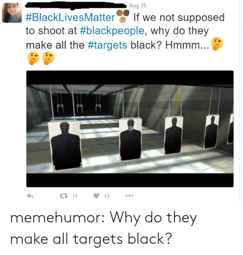 blackpeople: Aug 25  #BlackLivesMatter.' If we not supposed  to shoot at #blackpeople, why do they  make all the #targets black? Hmmm  t-11  ·12 memehumor:  Why do they make all targets black?