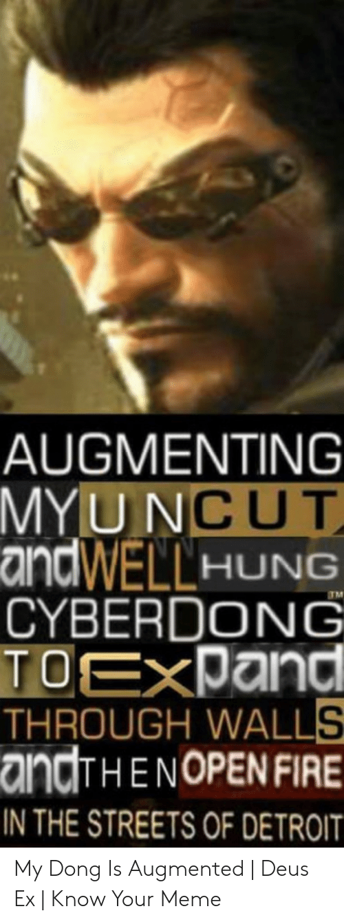 Augmenting: AUGMENTING  MYUNCUT  andWELLHUNG  CYBERDONG  TOEXPand  THROUGH WALLS  andTHENOPEN FIRE  TM  IN THE STREETS OF DETROIT My Dong Is Augmented   Deus Ex   Know Your Meme