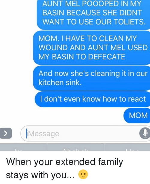 Usings, Clean, and Kitchen: AUNT MEL POOOOPED IN MY  BASIN BECAUSE SHE DIDNT  WANT TO USE OUR TOLIETS.  MOM. I HAVE TO CLEAN MY  WOUND AND AUNT MEL USED  MY BASIN TO DEFECATE  And now she's cleaning it in our  kitchen sink.  I don't even know how to react  MOM  Message When your extended family stays with you... 😕