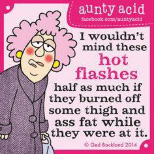 Memes, 🤖, and Flash: aunty acid  facebook.com/aunty acid  I wouldn't  mind these  hot  flashes  half as much if  they burned off  some thigh and  ass fat while  they were at it.  Ged Backland 2014