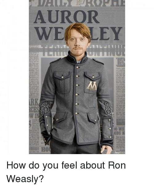 Memes, 🤖, and How: AUROR  WE LEY  W I  10  NDS  H0 How do you feel about Ron Weasly?