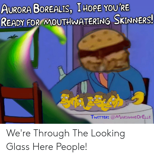 Were Through: AURORA BOREALIS, IHOPE YOU'RE  READY FOR MOUTHWATERING SKINNERS!  TWITTER: @MARIANNEOFELLE We're Through The Looking Glass Here People!