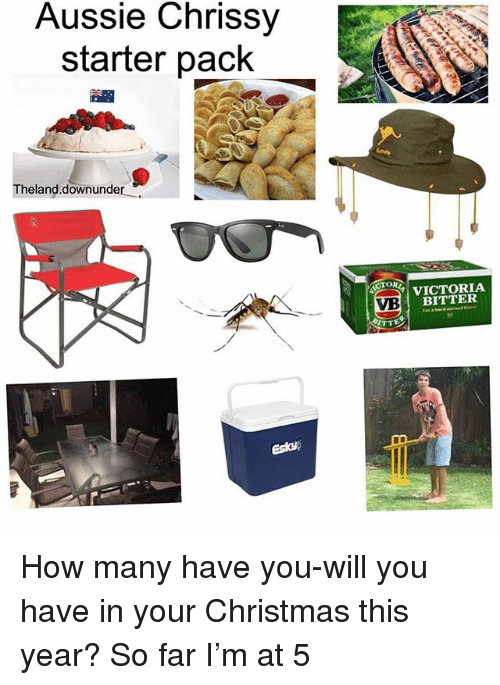 chrissy: Aussie Chrissy  starter pack  Theland.downunder  CTOR  VICTORIA  BITTER  VB  esta How many have you-will you have in your Christmas this year? So far I'm at 5