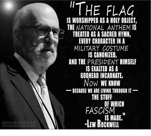 Memes, National Anthem, and Canon: AUSTNIAN ECONOMICS.  FREEDOM, ANO EACE  THE FLAG  IS WORSHIPPED AS A HOLI OBJECT,  THE NATIONAL ANTHEM IS  TREATED AS A SACRED HYMN,  EVERY CHARACTER IN A  MILITARY COSTUME  IS CANONIZED,  AND THE PRESIDENT HIMSELF  IS EXALTED AS A  GODHEADINCARNATE.  Now WE KNOW  BECAUSE WE ARE LIVING THROUGH IT  THE STUFF  OF WHICH  FASCISM  IS MADE.  LEW