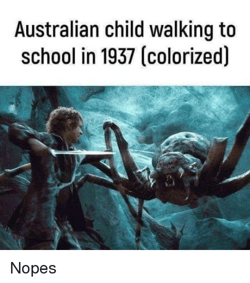 School, Australian, and Child: Australian child walking to  school in 1937 (colorized) Nopes