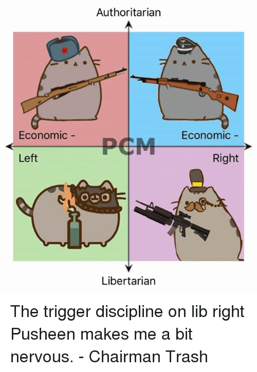 Dank, Trash, and Libertarianism: Authoritarian  Economic  PEM Economic  Left  Right  O DO  Libertarian The trigger discipline on lib right Pusheen makes me a bit nervous.   - Chairman Trash