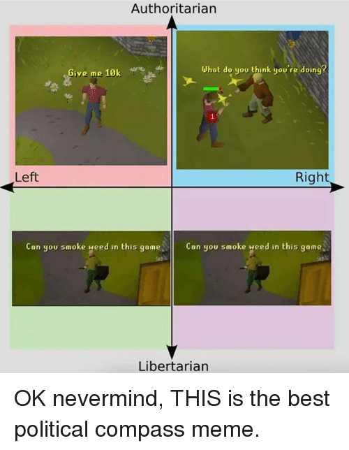 Libertarian: Authoritarian  What do you think you're doing?  Give me 10k  Left  Right  Can you smoke ueed in this game  Can you smoke weed in this game  Libertarian OK nevermind, THIS is the best political compass meme.