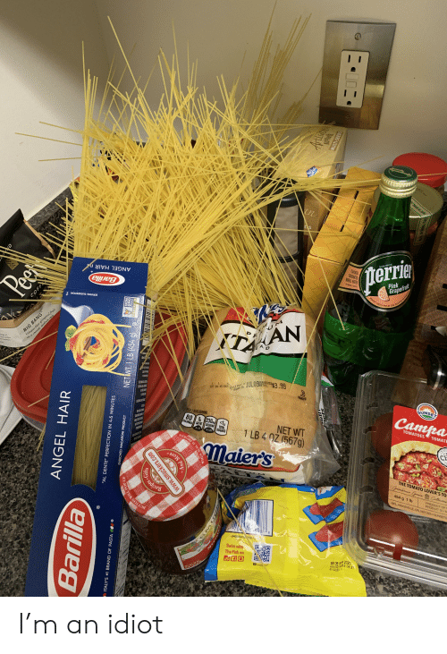 """Facepalm, Pop, and Smooth: AV  MADE IN PARMA I  DS  ANGEL HAIR n  SOURCE  Peer  (perrie  FUNYORED  ARDONATED  ANERAL WATER  Barilla  OMRACONTENT  TM  Pink  Grapefruit  SERVING SUGGESTION  BIG BANG  Vibrant blast of tropical fruit  En a smooth, medium style  ww  MEDIUM ROA  109) of  sorewer  P H  ten  ITAN  Call 55  JUL09 .9  SUG6  RETAIL  1 1  177 04:45 136S Bes if  19 Used By  PARVE  PER 1 SLICE SERVING  80 O 230mg<1  CALORIES SAT FAT SODIUM  SUNSET  Campa  TOTAL  SUGARS  0%D  NET WT  1 LB 4 QZ (567g)  10%OV  MS  TOMATOES  TOMATE  SEAL IS BROKEN  NSP  CF  THE TOMATO LOVER'S TO  Grrenhouse GronCattewre  ANOLLO  ALLEROO  TRD LY LACE  Recipes  454 g 1 lb  PRODUCT OF  MPL KINGSVILLE ON NY 2E5 SUNSETO  PRODUIT DUM  dish  704 20-598  8  040500416 500/s  Saish  Swim with  The Fish on  smartal  BB 06 APR 2020  HA10218032 04:27  8AGGER  ND  COFFE  ANGEL HAIR  Barilla  """"AL DENTE"""" PERFECTION IN 4-5 MINUTES  NON  OW  NETWT 1 LB (454 g).  ENRICHED MACARONI PRODUCT  ITALY'S #1 BRAND OF PASTA  WILL POP UP  SPE  www.smuckers.com  d More  7S  Artisin  IAMOND  MULTI-SEEDS  Water cantured at the Soure in France  HABE IN PARMA I'm an idiot"""