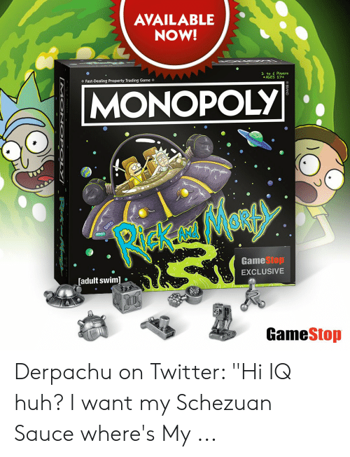 """Derpachu: AVAILABLE  NOW!  yere  AGES 174  Fast-Dealing Property Trading Game  MONOPOLY