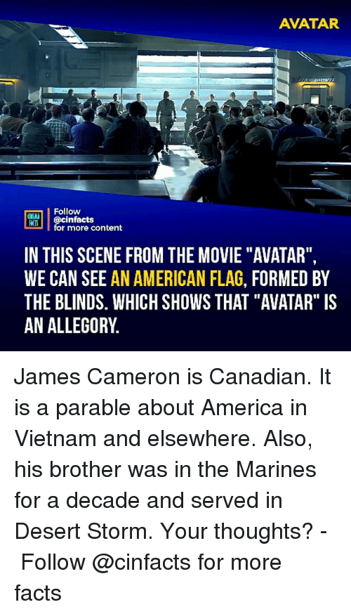 "America, Facts, and Memes: AVATAR  Follow  ONIA  ACIS  for more content  IN THIS SCENE FROM THE MOVIE ""AVATAR"",  WE CAN SEE AN AMERICAN FLAG, FORMED BY  THE BLINDS. WHICH SHOWS THAT ""AVATAR"" IS  AN ALLEGORY James Cameron is Canadian. It is a parable about America in Vietnam and elsewhere. Also, his brother was in the Marines for a decade and served in Desert Storm. Your thoughts?⠀ -⠀⠀ Follow @cinfacts for more facts"