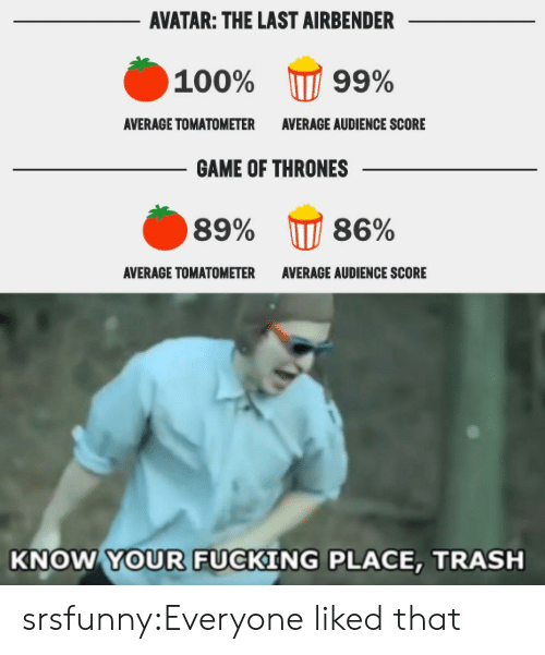 Avatar the Last Airbender: AVATAR: THE LAST AIRBENDER  100%  99%  AVERAGE TOMATOMETER  AVERAGE AUDIENCE SCORE  GAME OF THRONES  86%  89%  AVERAGE TOMATOMETER  AVERAGE AUDIENCE SCORE  KNOW YOUR FUCKING PLACE, TRASH srsfunny:Everyone liked that