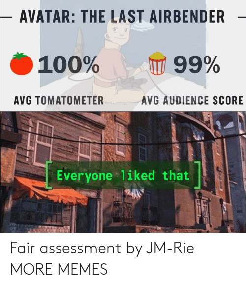Avatar the Last Airbender: - AVATAR: THE LAST AIRBENDER  100%  99%  AVG TOMATOMETER  AVG AUDIENCE SCORE  Everyone liked that Fair assessment by JM-Rie MORE MEMES