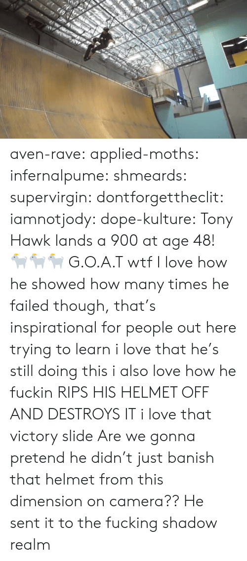 hawk: aven-rave: applied-moths:  infernalpume:  shmeards:  supervirgin:   dontforgettheclit:  iamnotjody:  dope-kulture:  Tony Hawk lands a 900 at age 48!  🐐🐐🐐  G.O.A.T   wtf  I love how he showed how many times he failed though, that's inspirational for people out here trying to learn   i love that he's still doing this i also love how he fuckin RIPS HIS HELMET OFF AND DESTROYS IT  i love that victory slide   Are we gonna pretend he didn't just banish that helmet from this dimension on camera??   He sent it to the fucking shadow realm
