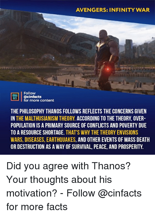 Facts, Memes, and Avengers: AVENGERS: INFINITY WAR  Follow  @cinfacts  for more content  ONENA  THE PHILOSOPHY THANOS FOLLOWS REFLECTS THE CONCERNS GIVEN  IN THE MALTHUSIANISM THEORY. ACCORDING TO THE THEORY, OVER  POPULATION IS A PRIMARY SOURCE OF CONFLICTS AND POVERTY DUE  TO A RESOURCE SHORTAGE. THAT'S WHY THE THEORY ENVISIONS  WARS, DISEASES, EARTHQUAKES, AND OTHER EVENTS OF MASS DEATH  OR DESTRUCTION AS A WAY OF SURVIVAL, PEACE, AND PROSPERITY. Did you agree with Thanos? Your thoughts about his motivation?⠀ -⠀ Follow @cinfacts for more facts