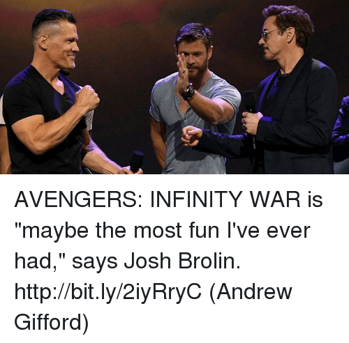 "Joshed: AVENGERS: INFINITY WAR is ""maybe the most fun I've ever had,"" says Josh Brolin. http://bit.ly/2iyRryC  (Andrew Gifford)"