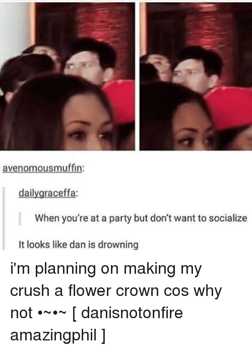 graceffa: avenomous muffin:  daily graceffa:  When you're at a party but don't want to socialize  It looks like dan is drowning i'm planning on making my crush a flower crown cos why not •~•~ [ danisnotonfire amazingphil ]