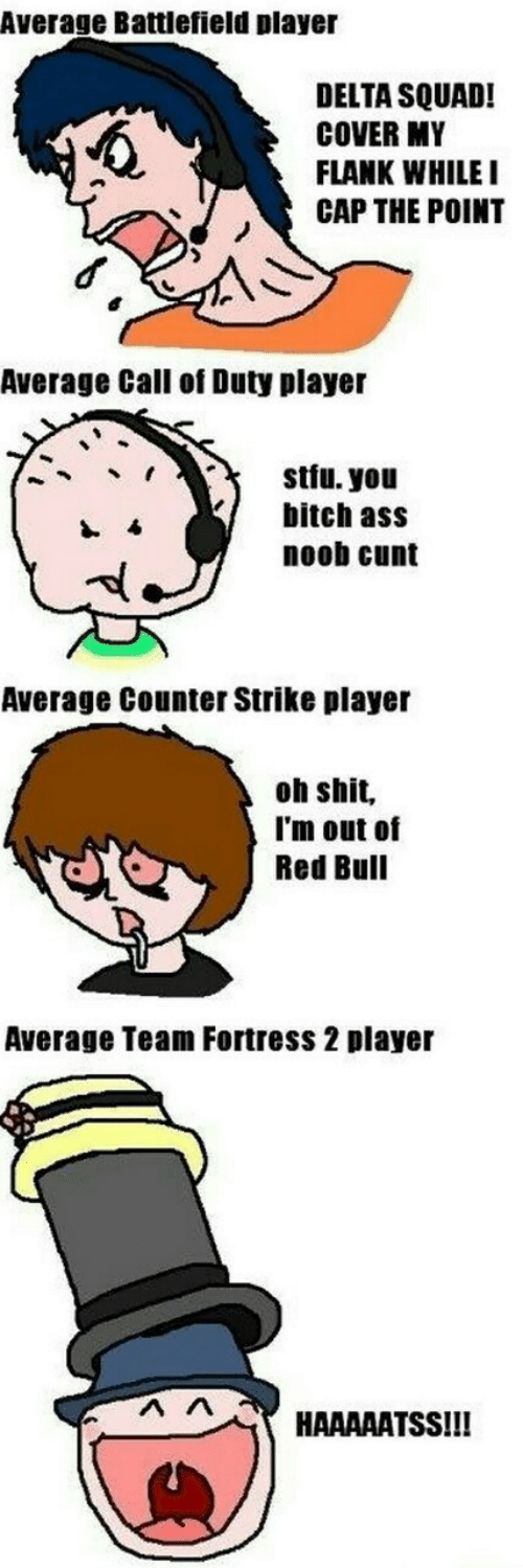 Battlefield: Average Battlefield player  DELTA SQUAD!  COVER MY  FLANK WHILE  CAP THE POINT  Average Call of Duty player  stfu. you  bitch ass  noob cunt  Average Counter Strike player  oh shit,  I'm out of  Red Bull  Average Team Fortress 2 player  HAAAAATSSIII