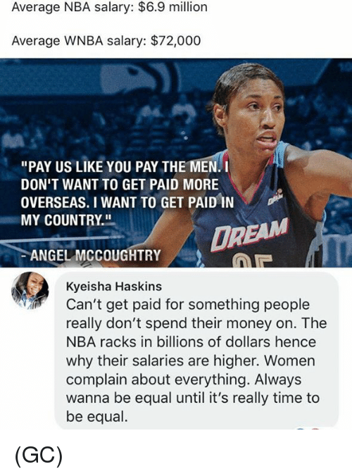 "Memes, Money, and Nba: Average NBA salary: $6.9 million  Average WNBA salary: $72,000  ""PAY US LIKE YOU PAY THE MEN. I  DON'T WANT TO GET PAID MORE  OVERSEAS. I WANT TO GET PAIDİN  MY COUNTRY.  DR  ANGEL MCCOUGHTRY  Kyeisha Haskins  Can't get paid for something people  really don't spend their money on. The  NBA racks in billions of dollars hence  why their salaries are higher. Women  complain about everything. Always  wanna be equal until it's really time to  be equal. (GC)"